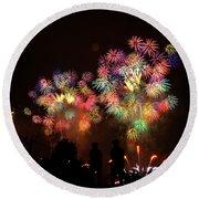 Macy's July 4th Fireworks New York City  Round Beach Towel