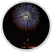 Fireworks Over The Empire State Building Round Beach Towel by Nishanth Gopinathan