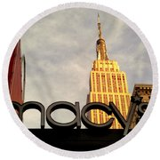 Macy's With Empire State Building - Famous Buildings And Landmarks Of New York City Round Beach Towel