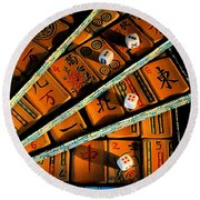 Mad For Mahjong Round Beach Towel