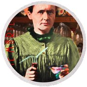 Madame Marie Curie Shaking Up A Killer Martini At The Swank Hipster Club 88 20140625 With Text Round Beach Towel