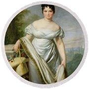 Madame Tallien 1773-1835 Oil On Canvas Round Beach Towel