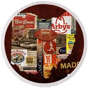 Made In Ohio Products Vintage Map On Wood Round Beach Towel
