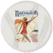 Mademoiselle Cover Featuring A Model At The Beach Round Beach Towel