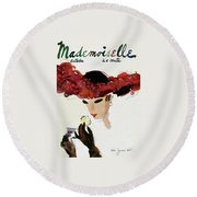 Mademoiselle Cover Featuring A Woman In A Red Round Beach Towel