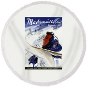 Mademoiselle Cover Featuring An Illustration Round Beach Towel