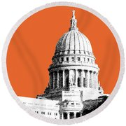 Madison Capital Building - Coral Round Beach Towel