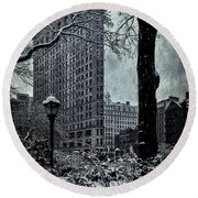 Madison Square And The Flatiron Building Round Beach Towel
