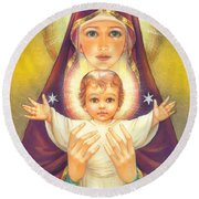 Madonna And Baby Jesus Round Beach Towel by Zorina Baldescu