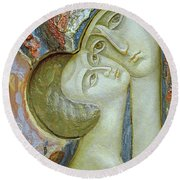 Madonna And Child Round Beach Towel by Alek Rapoport