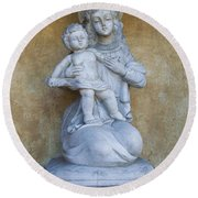 Madonna And Child Carmel Mission Monterey California Round Beach Towel