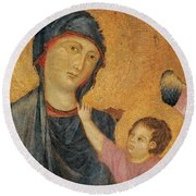 Madonna And Child Enthroned  Round Beach Towel