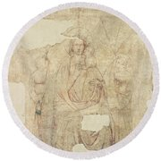 Madonna And Child Enthroned, Drawing For A Fresco Sinopia On Paper Round Beach Towel