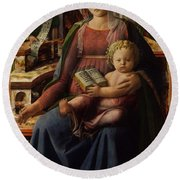 Madonna And Child Enthroned With Two Angels Round Beach Towel
