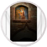 Madonna And Child Poster Round Beach Towel