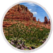 Madonna And Child Two Nuns Rock Formations Sedona Arizona Round Beach Towel