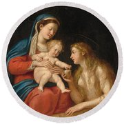 Madonna And Child With Mary Magdalene  Round Beach Towel