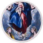 Madonna And Child With Saint Martina And Saint Agnes Round Beach Towel