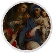 Madonna And Child With Saints John The Baptist With Mary Magdalene And Anne Round Beach Towel by Guiseppe Cesari