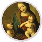Madonna And Child With The Infant Saint John Round Beach Towel