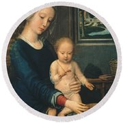 Madonna And Child With The Milk Soup Round Beach Towel