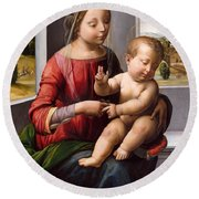 Madonna And Child With The Young Saint John The Baptist Round Beach Towel
