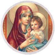 Madonna And Sitting Baby Jesus Round Beach Towel by Zorina Baldescu