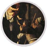 Madonna Dei Pellegrini Or Madonna Of Loreto Round Beach Towel by Michelangelo Merisi da Caravaggio
