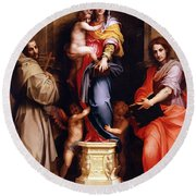 Madonna Of The Harpies Round Beach Towel