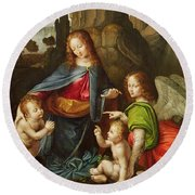 Madonna Of The Rocks Round Beach Towel
