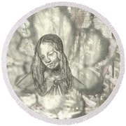 Madonna On Black And White Screen Round Beach Towel