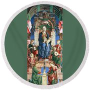 Madonna With The Child Enthroned  Round Beach Towel by Cosme Tura
