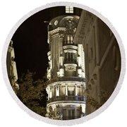 Madrid At Night Round Beach Towel
