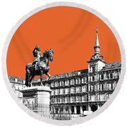 Madrid Skyline Plaza Mayor - Coral Round Beach Towel