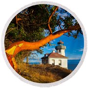 Madrone And Lighthouse Round Beach Towel