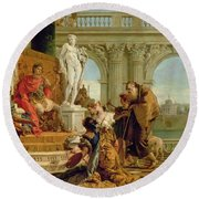 Maecenas Presenting The Liberal Arts To The Emperor Augustus Round Beach Towel