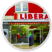 Magazin Liberal Dress Shop On Rue Notre Dame Montreal St.henri City Scenes Carole Spandau Round Beach Towel
