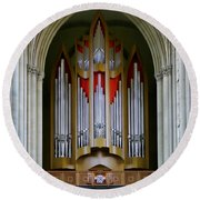 Magdeburg Cathedral Organ Round Beach Towel