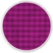 Magenta Checkered Pattern Cloth Background Round Beach Towel