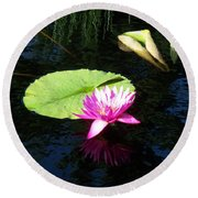 Magenta Lily Monet Round Beach Towel