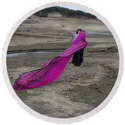 Magenta Madness Round Beach Towel