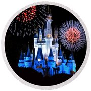 Magic Kingdom Castle In Blue With Fireworks Round Beach Towel