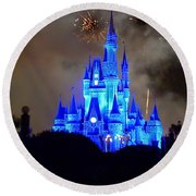 Magic Kingdom Castle In Deep Blue With Fireworks Round Beach Towel