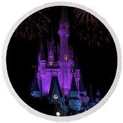 Magic Kingdom Castle In Purple With Fireworks 01 Round Beach Towel