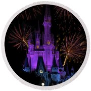 Magic Kingdom Castle In Purple With Fireworks 03 Round Beach Towel