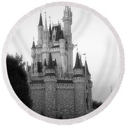 Magic Kingdom Castle Side View In Black And White Round Beach Towel