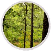 Magic Of The Golden Forest Round Beach Towel