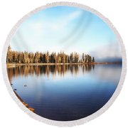 Magic On Seeley Lake Round Beach Towel