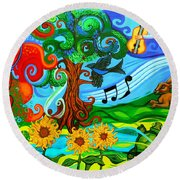 Magical Earth Round Beach Towel by Genevieve Esson