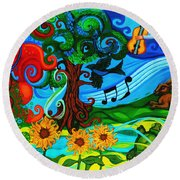 Magical Earth II Round Beach Towel by Genevieve Esson